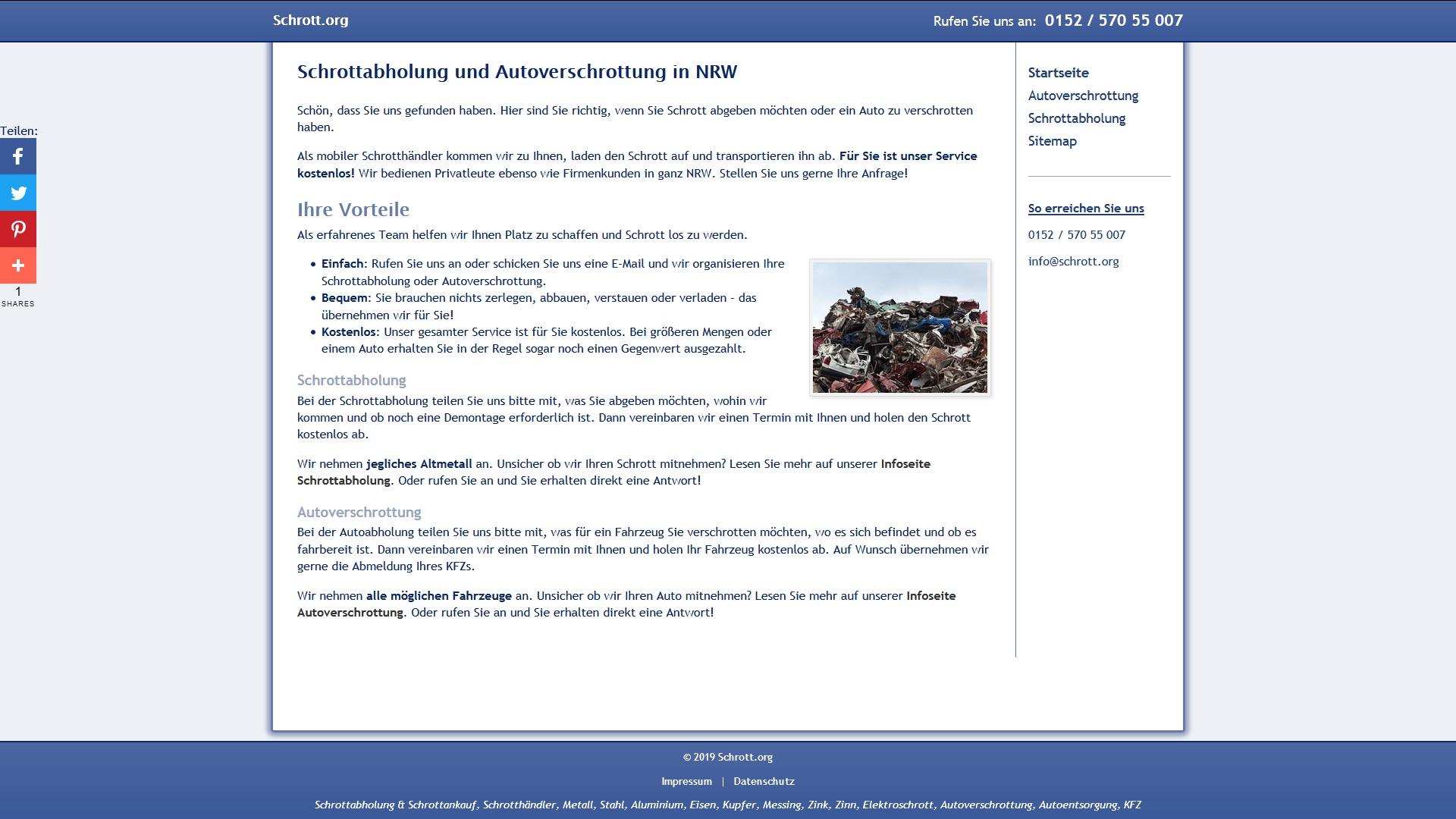 Schrott Abholung, Dienstleistungen in Nordrhein-Westfalen